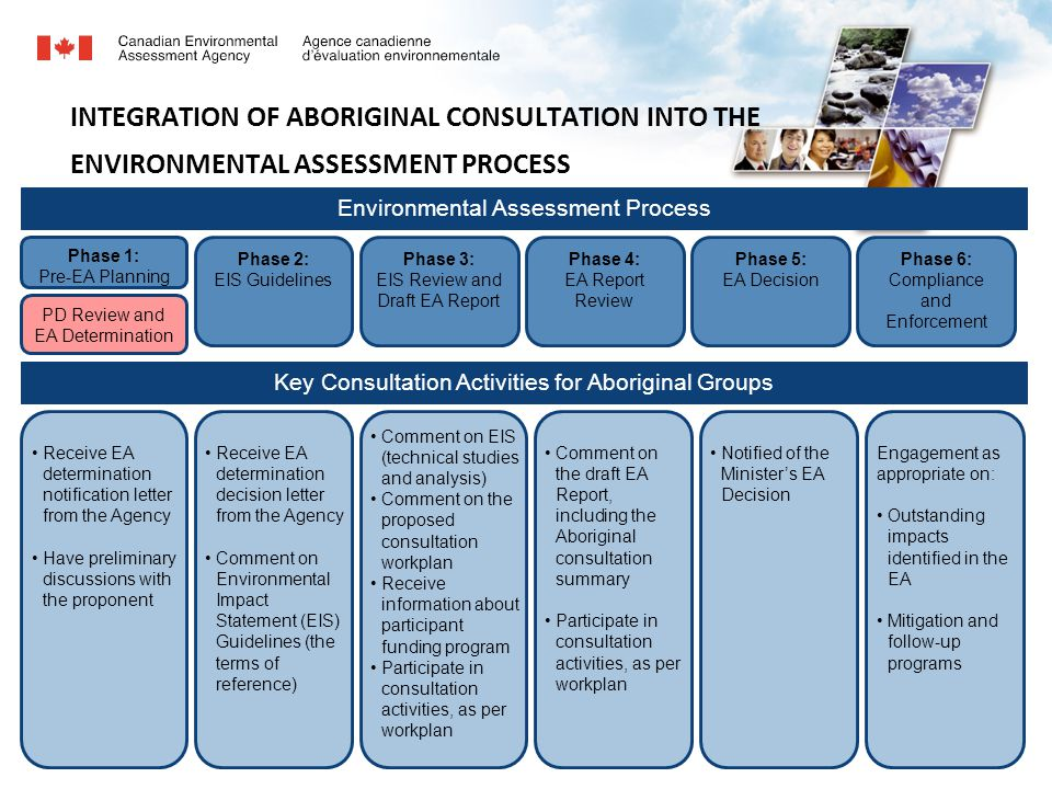 7 INTEGRATION OF ABORIGINAL CONSULTATION INTO THE ENVIRONMENTAL ASSESSMENT PROCESS Environmental Assessment Process Key Consultation Activities for Aboriginal Groups Phase 1: Pre-EA Planning Phase 2: EIS Guidelines Phase 3: EIS Review and Draft EA Report Phase 4: EA Report Review Phase 5: EA Decision Phase 6: Compliance and Enforcement PD Review and EA Determination Receive EA determination notification letter from the Agency Have preliminary discussions with the proponent Receive EA determination decision letter from the Agency Comment on Environmental Impact Statement (EIS) Guidelines (the terms of reference) Comment on EIS (technical studies and analysis) Comment on the proposed consultation workplan Receive information about participant funding program Participate in consultation activities, as per workplan Comment on the draft EA Report, including the Aboriginal consultation summary Participate in consultation activities, as per workplan Notified of the Minister's EA Decision Engagement as appropriate on: Outstanding impacts identified in the EA Mitigation and follow-up programs