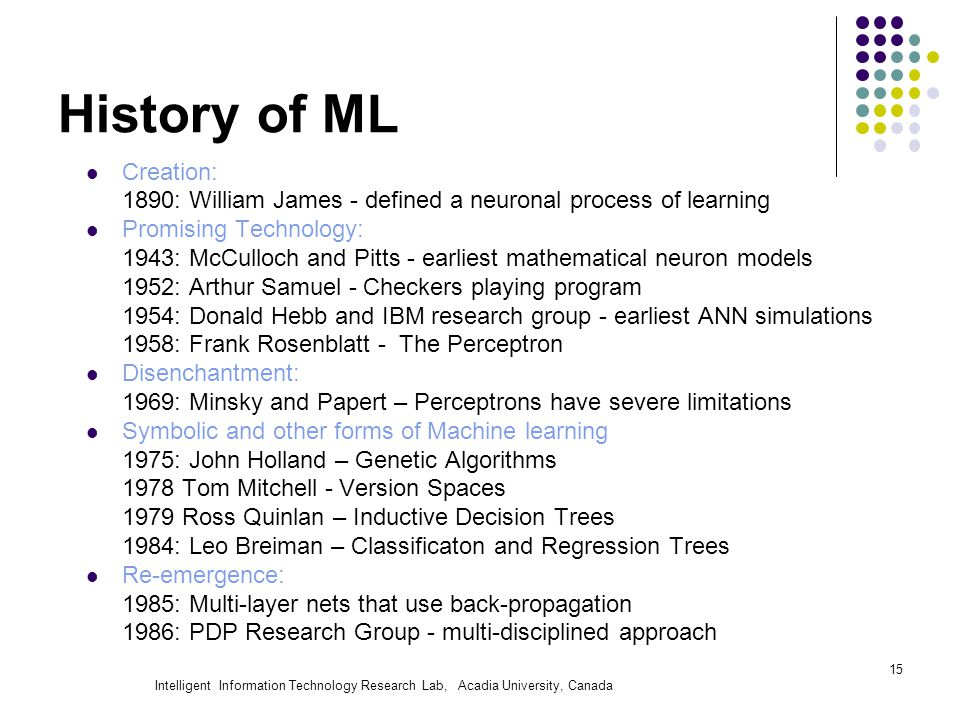 Intelligent Information Technology Research Lab, Acadia University, Canada History of ML Creation: 1890: William James - defined a neuronal process of
