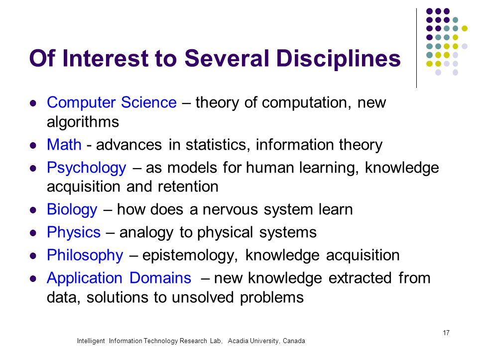 Intelligent Information Technology Research Lab, Acadia University, Canada Of Interest to Several Disciplines Computer Science – theory of computation, new algorithms Math - advances in statistics, information theory Psychology – as models for human learning, knowledge acquisition and retention Biology – how does a nervous system learn Physics – analogy to physical systems Philosophy – epistemology, knowledge acquisition Application Domains – new knowledge extracted from data, solutions to unsolved problems 17