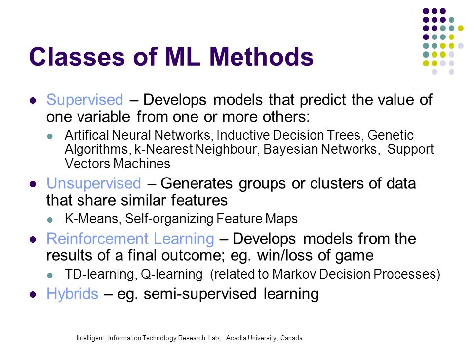Intelligent Information Technology Research Lab, Acadia University, Canada Classes of ML Methods Supervised – Develops models that predict the value of one variable from one or more others: Artifical Neural Networks, Inductive Decision Trees, Genetic Algorithms, k-Nearest Neighbour, Bayesian Networks, Support Vectors Machines Unsupervised – Generates groups or clusters of data that share similar features K-Means, Self-organizing Feature Maps Reinforcement Learning – Develops models from the results of a final outcome; eg.