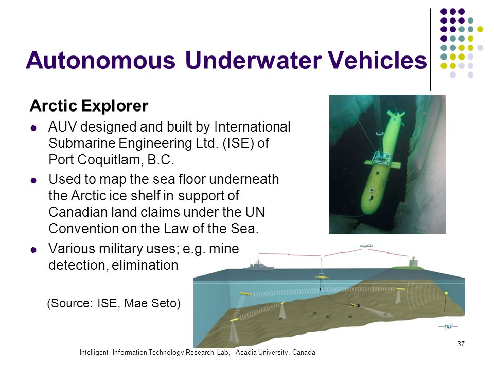 Intelligent Information Technology Research Lab, Acadia University, Canada Autonomous Underwater Vehicles Arctic Explorer AUV designed and built by In