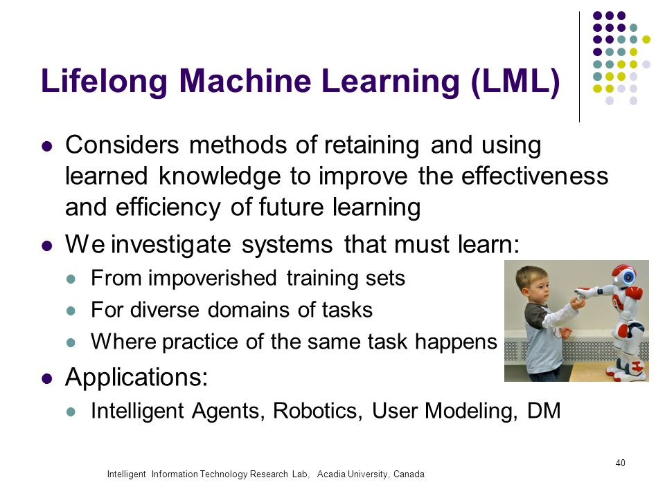 Intelligent Information Technology Research Lab, Acadia University, Canada 40 Lifelong Machine Learning (LML) Considers methods of retaining and using learned knowledge to improve the effectiveness and efficiency of future learning We investigate systems that must learn: From impoverished training sets For diverse domains of tasks Where practice of the same task happens Applications: Intelligent Agents, Robotics, User Modeling, DM