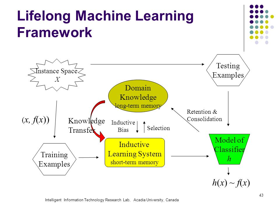 Intelligent Information Technology Research Lab, Acadia University, Canada 43 Lifelong Machine Learning Framework Instance Space X Training Examples Testing Examples ( x, f(x)) Model of Classifier h Inductive Learning System short-term memory h(x) ~ f(x) Domain Knowledge long-term memory Retention & Consolidation Inductive Bias Selection Knowledge Transfer
