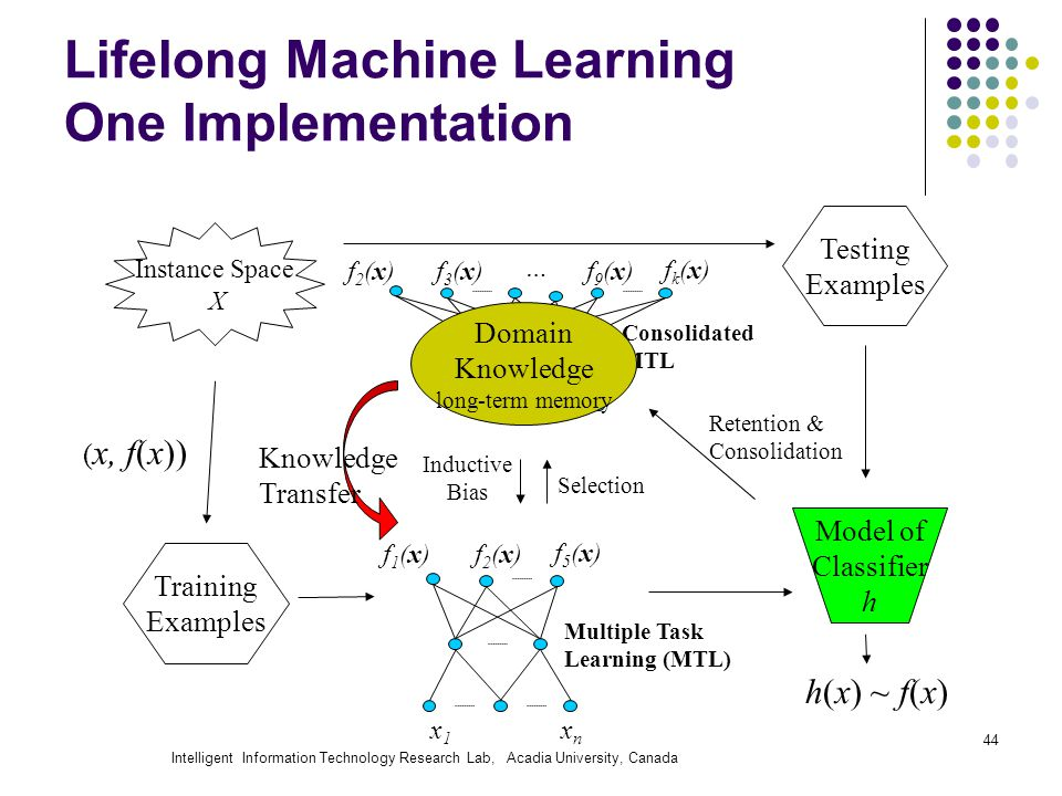 Intelligent Information Technology Research Lab, Acadia University, Canada 44 Lifelong Machine Learning One Implementation Instance Space X Training Examples Testing Examples ( x, f(x)) Model of Classifier h h(x) ~ f(x) Retention & Consolidation Knowledge Transfer f2(x)f2(x) x1x1 xnxn f1(x)f1(x) f5(x)f5(x) Multiple Task Learning (MTL) Inductive Bias Selection f3(x)f3(x)f2(x)f2(x) … f9(x)f9(x) fk(x)fk(x) Consolidated MTL Domain Knowledge long-term memory