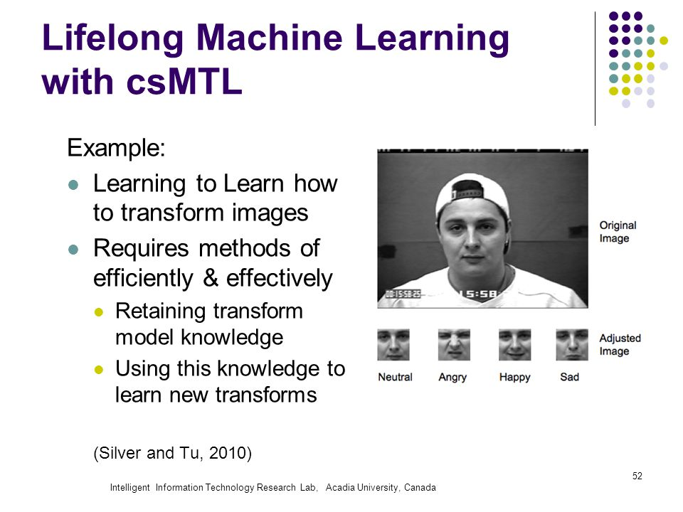 Intelligent Information Technology Research Lab, Acadia University, Canada Lifelong Machine Learning with csMTL Example: Learning to Learn how to transform images Requires methods of efficiently & effectively Retaining transform model knowledge Using this knowledge to learn new transforms (Silver and Tu, 2010) 52