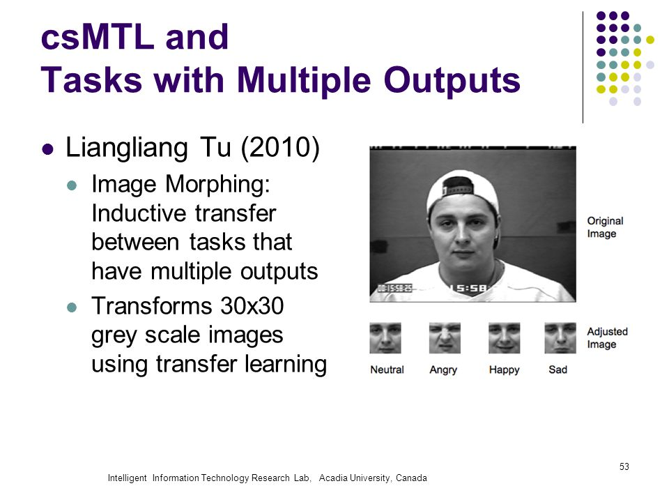 Intelligent Information Technology Research Lab, Acadia University, Canada csMTL and Tasks with Multiple Outputs Liangliang Tu (2010) Image Morphing: Inductive transfer between tasks that have multiple outputs Transforms 30x30 grey scale images using transfer learning 53