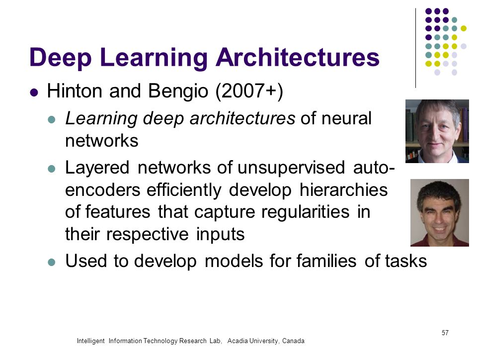 Intelligent Information Technology Research Lab, Acadia University, Canada Deep Learning Architectures Hinton and Bengio (2007+) Learning deep architectures of neural networks Layered networks of unsupervised auto- encoders efficiently develop hierarchies of features that capture regularities in their respective inputs Used to develop models for families of tasks 57
