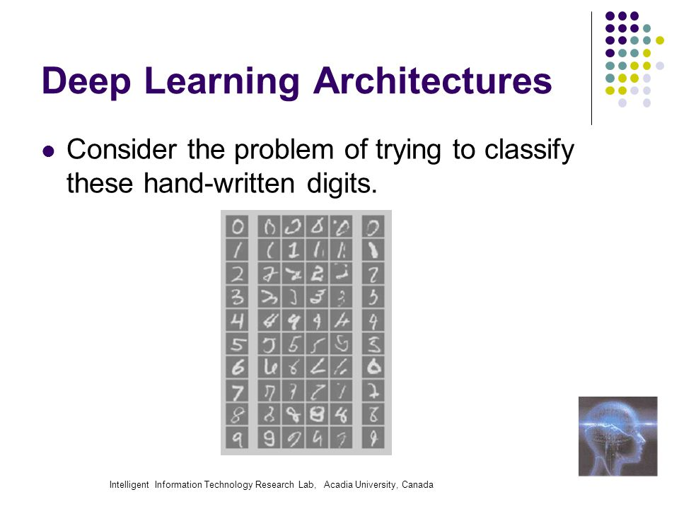 Intelligent Information Technology Research Lab, Acadia University, Canada Deep Learning Architectures Consider the problem of trying to classify these hand-written digits.