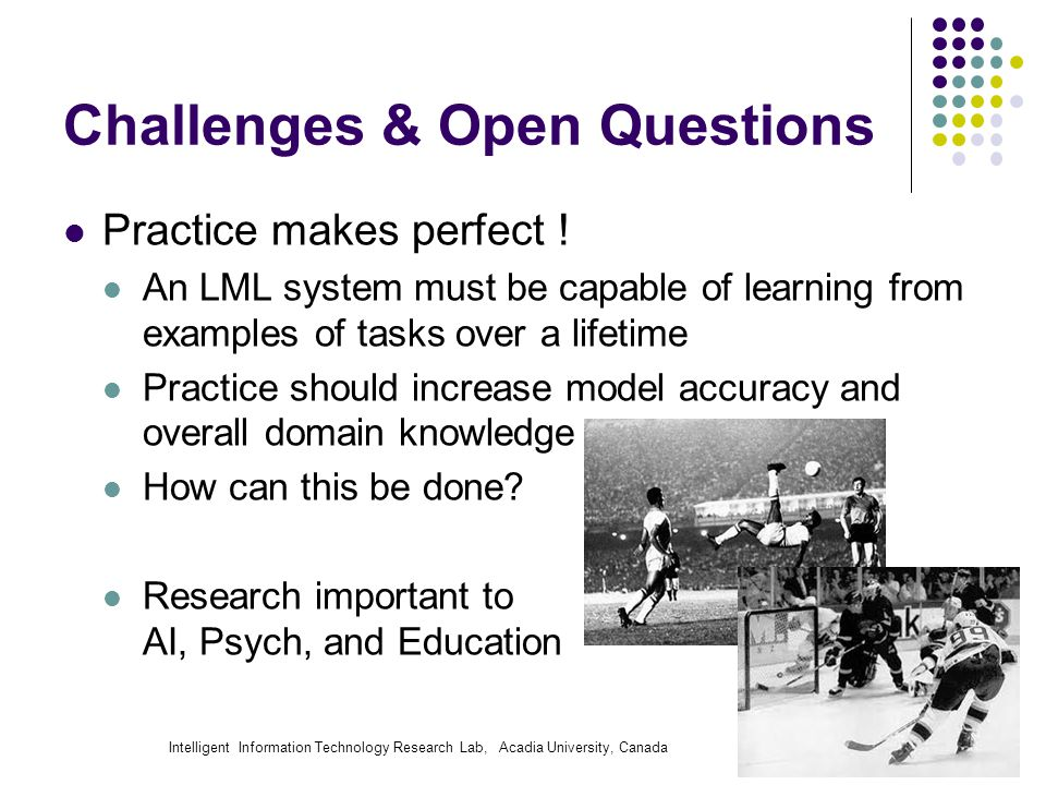 Intelligent Information Technology Research Lab, Acadia University, Canada Challenges & Open Questions Practice makes perfect ! An LML system must be