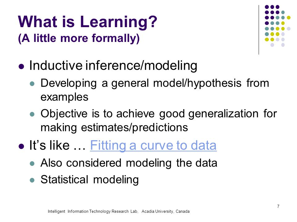 Intelligent Information Technology Research Lab, Acadia University, Canada What is Learning? (A little more formally) Inductive inference/modeling Dev