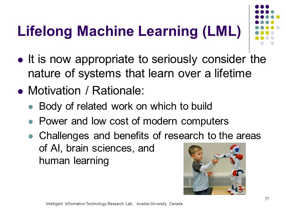 Intelligent Information Technology Research Lab, Acadia University, Canada Lifelong Machine Learning (LML) It is now appropriate to seriously consider