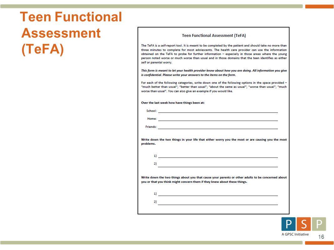16 Teen Functional Assessment (TeFA)