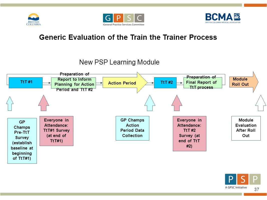 37 Generic Evaluation of the Train the Trainer Process New PSP Learning Module TtT #1 TtT #2 Action Period Preparation of Report to Inform Planning for Action Period and TtT #2 Module Roll Out GP Champs Pre-TtT Survey (establish baseline at beginning of TtT#1) Everyone in Attendance: TtT#1 Survey (at end of TtT#1) GP Champs Action Period Data Collection Everyone in Attendance: TtT #2 Survey (at end of TtT #2) Module Evaluation After Roll Out Preparation of Final Report of TtT process