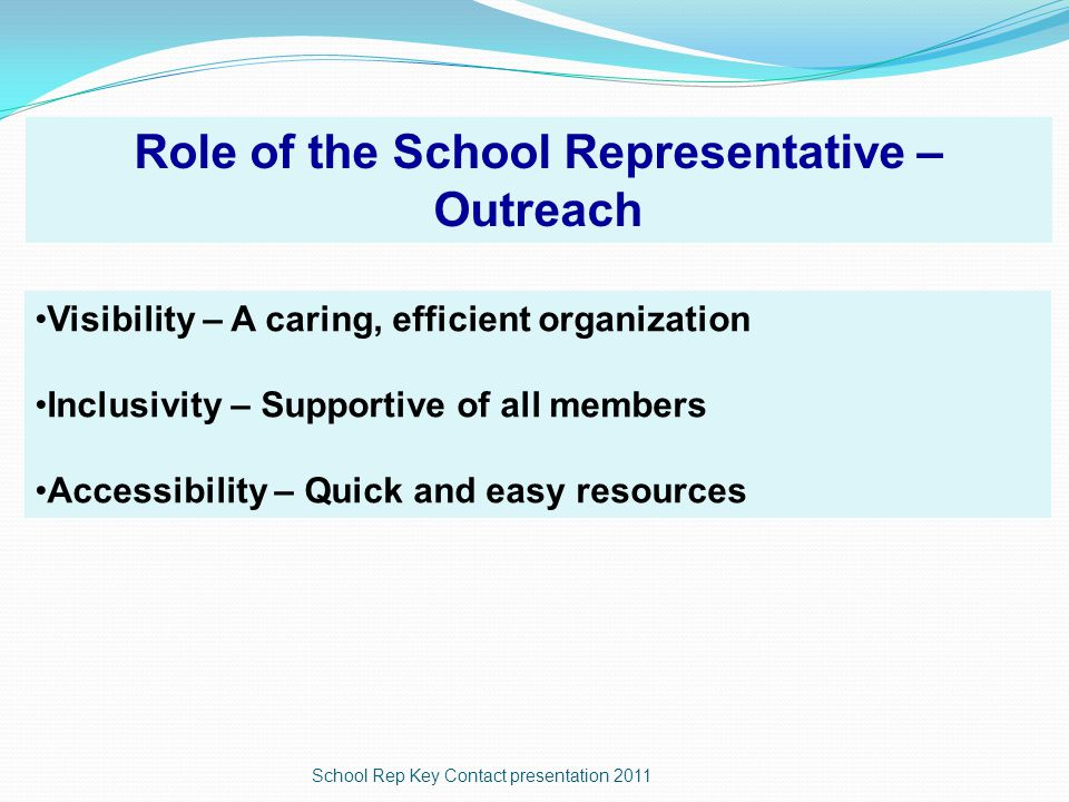 School Rep Key Contact presentation 2011 Can't find it.