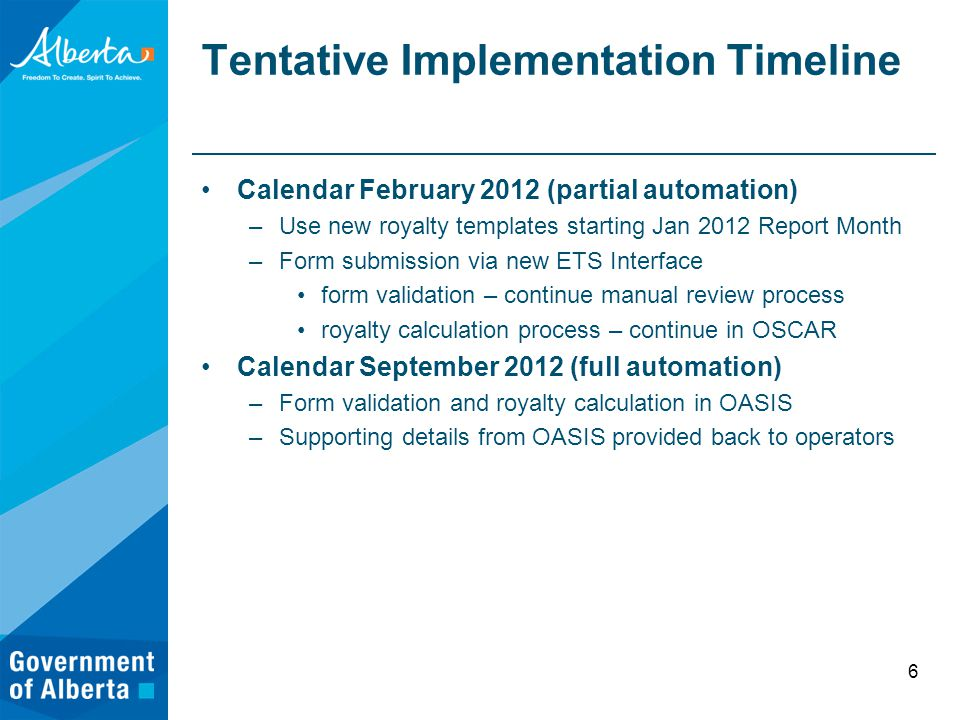 Tentative Implementation Timeline Calendar February 2012 (partial automation) –Use new royalty templates starting Jan 2012 Report Month –Form submission via new ETS Interface form validation – continue manual review process royalty calculation process – continue in OSCAR Calendar September 2012 (full automation) –Form validation and royalty calculation in OASIS –Supporting details from OASIS provided back to operators 6