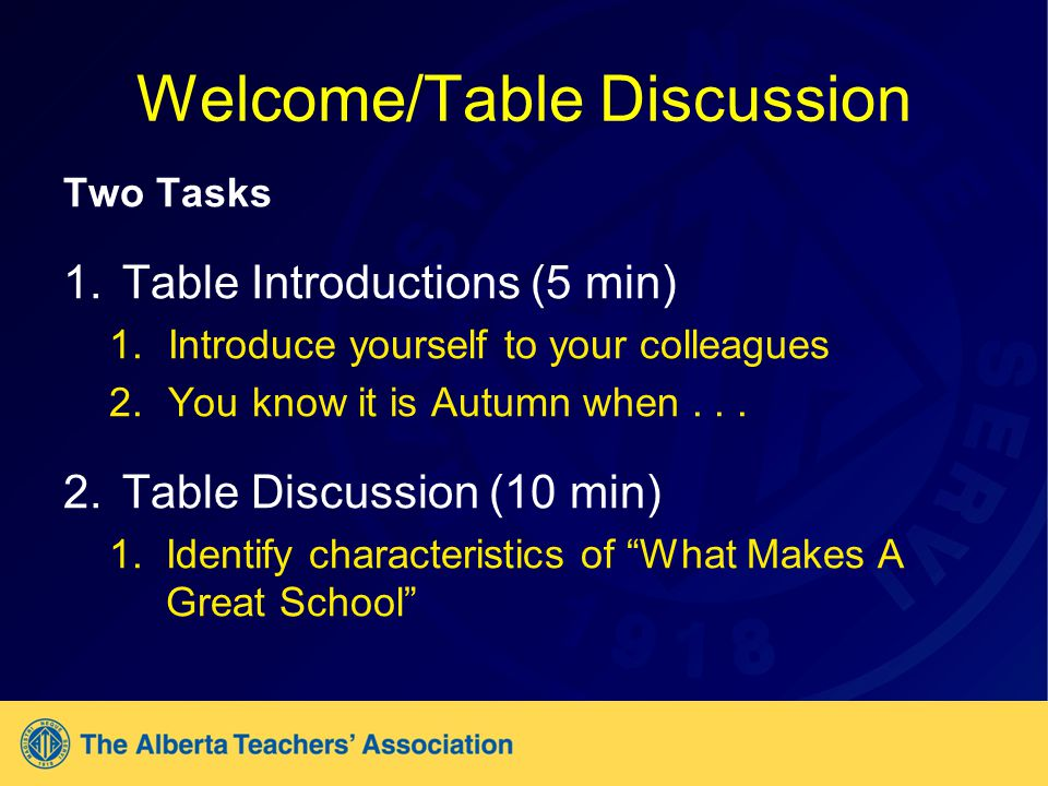 Welcome/Table Discussion Two Tasks 1.Table Introductions (5 min) 1.Introduce yourself to your colleagues 2.You know it is Autumn when...