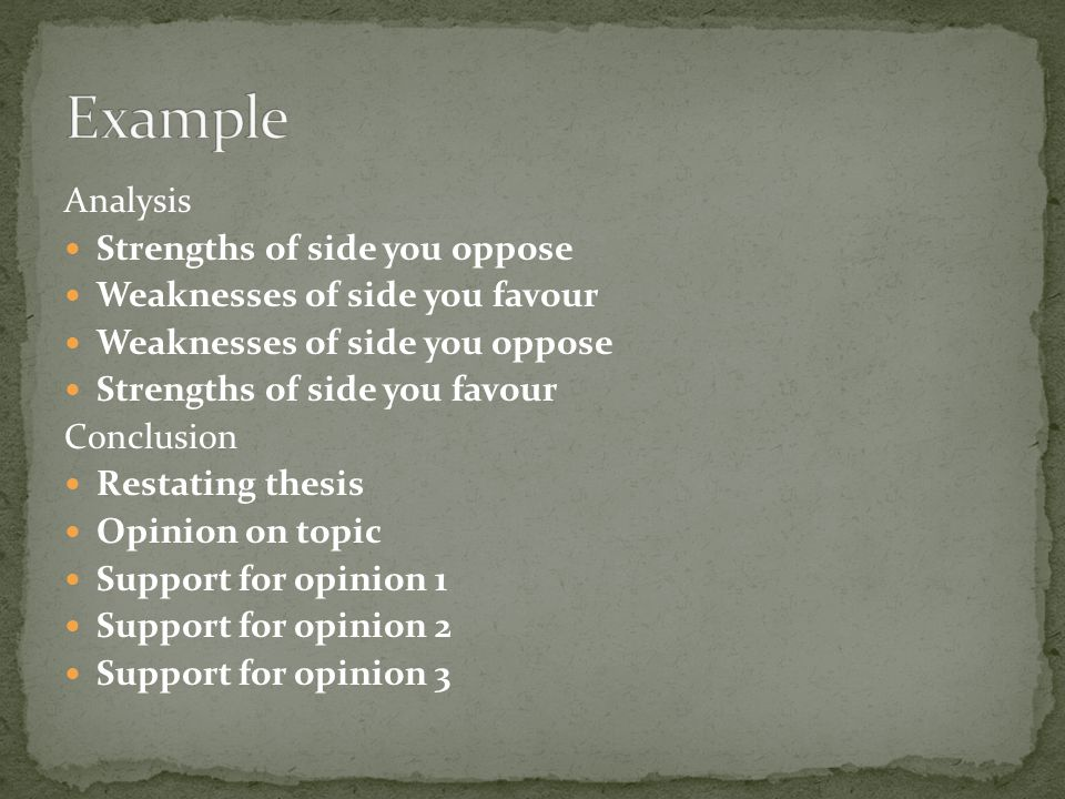 Analysis Strengths of side you oppose Weaknesses of side you favour Weaknesses of side you oppose Strengths of side you favour Conclusion Restating th
