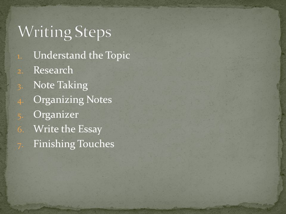 1. Understand the Topic 2. Research 3. Note Taking 4. Organizing Notes 5. Organizer 6. Write the Essay 7. Finishing Touches