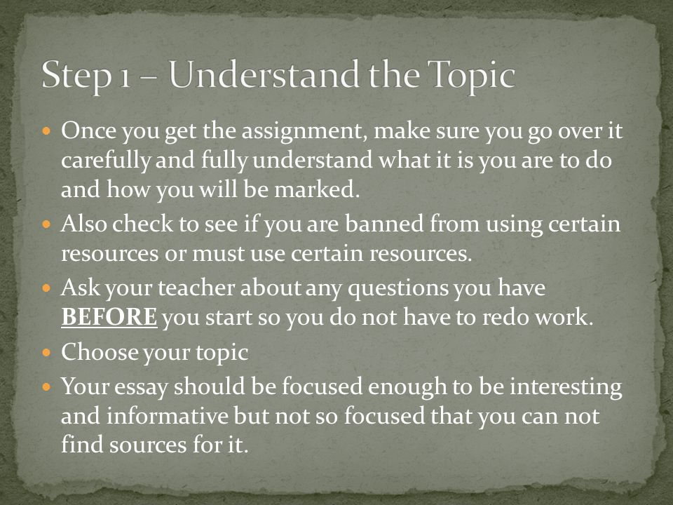 Once you get the assignment, make sure you go over it carefully and fully understand what it is you are to do and how you will be marked. Also check t