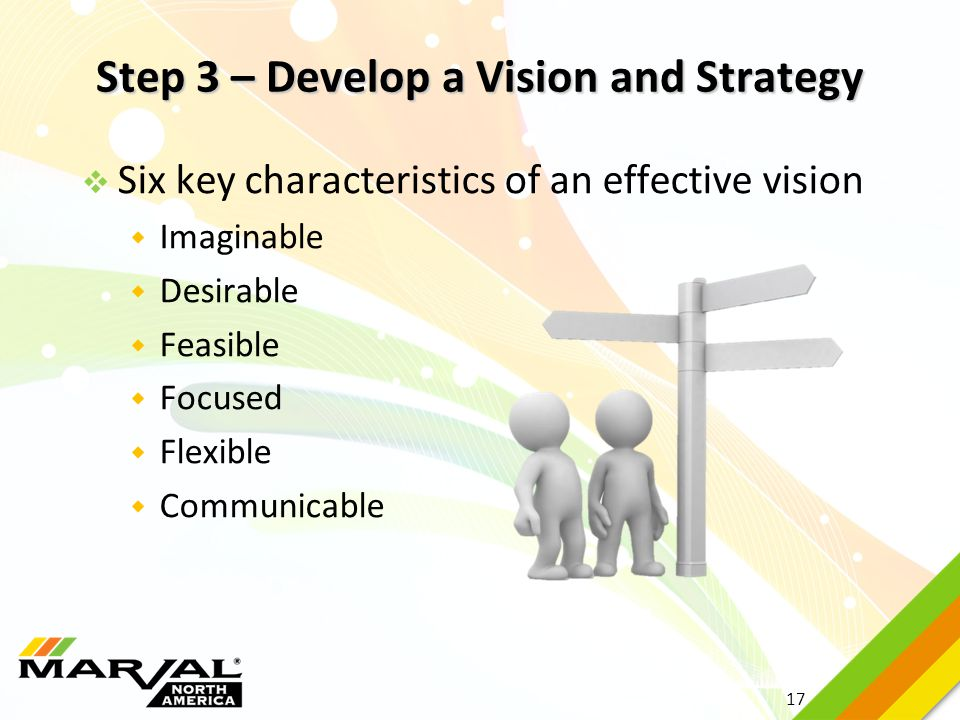 17 Step 3 – Develop a Vision and Strategy  Six key characteristics of an effective vision  Imaginable  Desirable  Feasible  Focused  Flexible 
