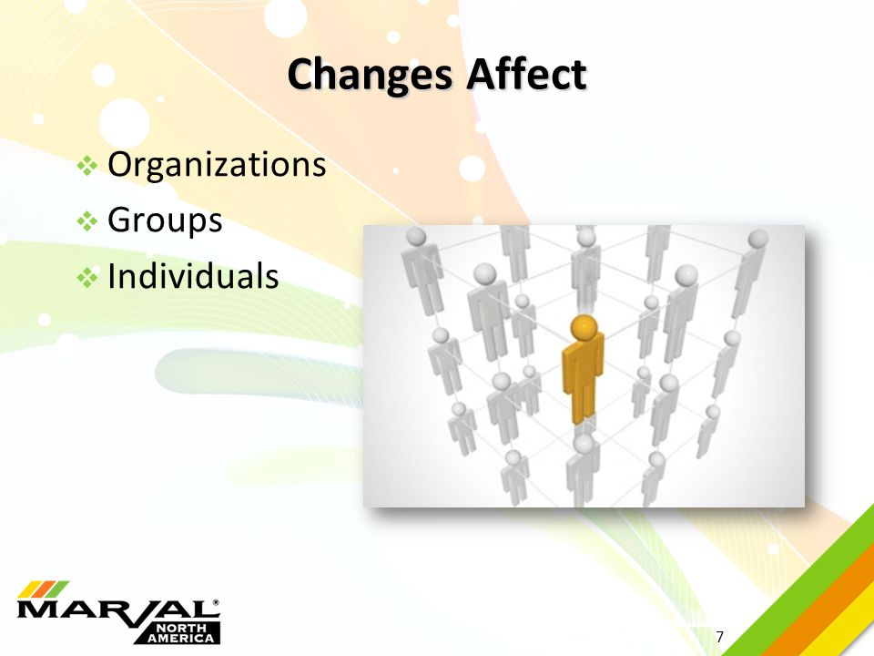 7  Organizations  Groups  Individuals Changes Affect