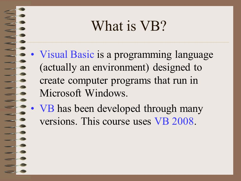 Getting Started VB 2008 addresses problem solving from the outside, in. In other words, the user interface is designed and created first, then it's Events are programmed.