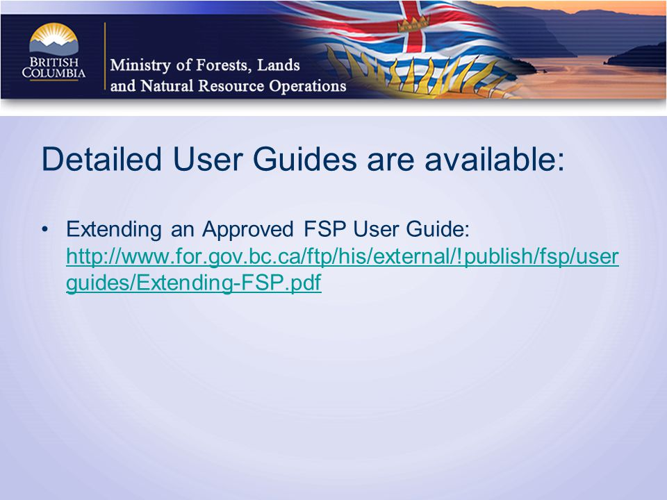 Detailed User Guides are available: Extending an Approved FSP User Guide:   guides/Extending-FSP.pdf   guides/Extending-FSP.pdf