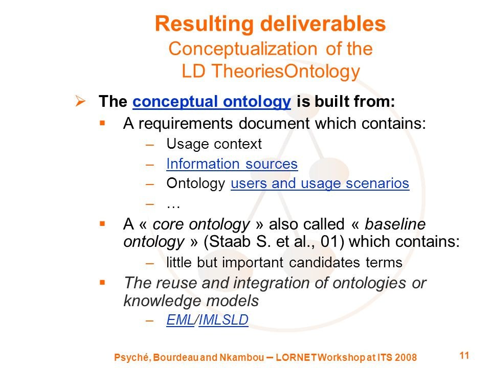 Psyché, Bourdeau and Nkambou – LORNET Workshop at ITS 2008 11 Resulting deliverables Conceptualization of the LD TheoriesOntology  The conceptual ontology is built from:conceptual ontology  A requirements document which contains: –Usage context –Information sourcesInformation sources –Ontology users and usage scenariosusers and usage scenarios –…  A « core ontology » also called « baseline ontology » (Staab S.