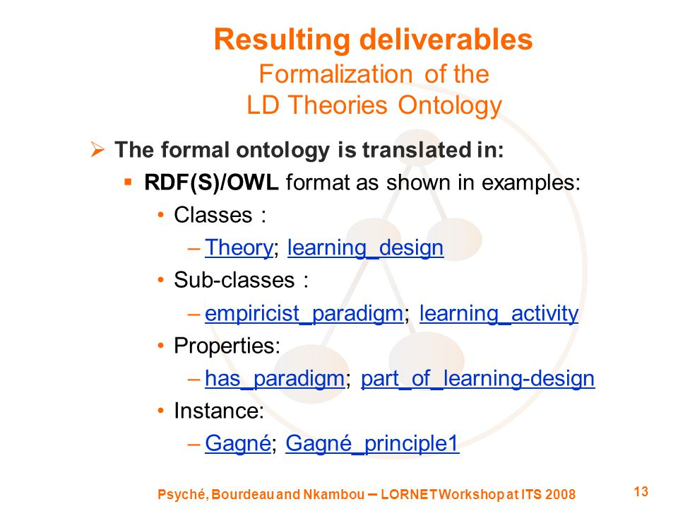Psyché, Bourdeau and Nkambou – LORNET Workshop at ITS 2008 13 Resulting deliverables Formalization of the LD Theories Ontology  The formal ontology is translated in:  RDF(S)/OWL format as shown in examples: Classes : –Theory; learning_designTheorylearning_design Sub-classes : –empiricist_paradigm; learning_activityempiricist_paradigmlearning_activity Properties: –has_paradigm; part_of_learning-designhas_paradigmpart_of_learning-design Instance: –Gagné; Gagné_principle1GagnéGagné_principle1