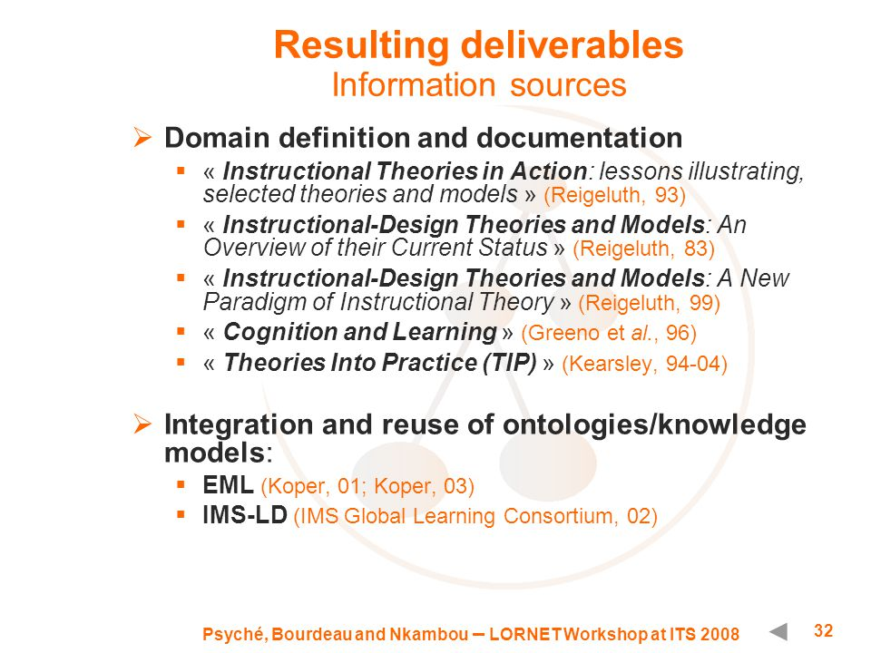 Psyché, Bourdeau and Nkambou – LORNET Workshop at ITS 2008 32 Resulting deliverables Information sources  Domain definition and documentation  « Instructional Theories in Action: lessons illustrating, selected theories and models » (Reigeluth, 93)  « Instructional-Design Theories and Models: An Overview of their Current Status » (Reigeluth, 83)  « Instructional-Design Theories and Models: A New Paradigm of Instructional Theory » (Reigeluth, 99)  « Cognition and Learning » (Greeno et al., 96)  « Theories Into Practice (TIP) » (Kearsley, 94-04)  Integration and reuse of ontologies/knowledge models:  EML (Koper, 01; Koper, 03)  IMS-LD (IMS Global Learning Consortium, 02)