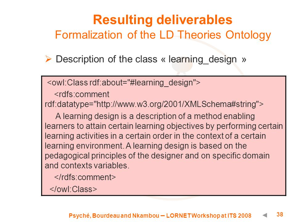 Psyché, Bourdeau and Nkambou – LORNET Workshop at ITS 2008 38 Resulting deliverables Formalization of the LD Theories Ontology  Description of the class « learning_design » A learning design is a description of a method enabling learners to attain certain learning objectives by performing certain learning activities in a certain order in the context of a certain learning environment.