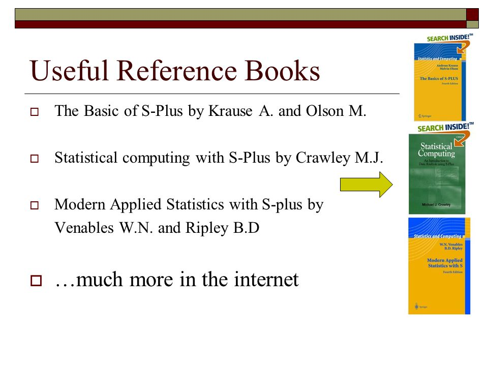 Useful Reference Books  The Basic of S-Plus by Krause A.