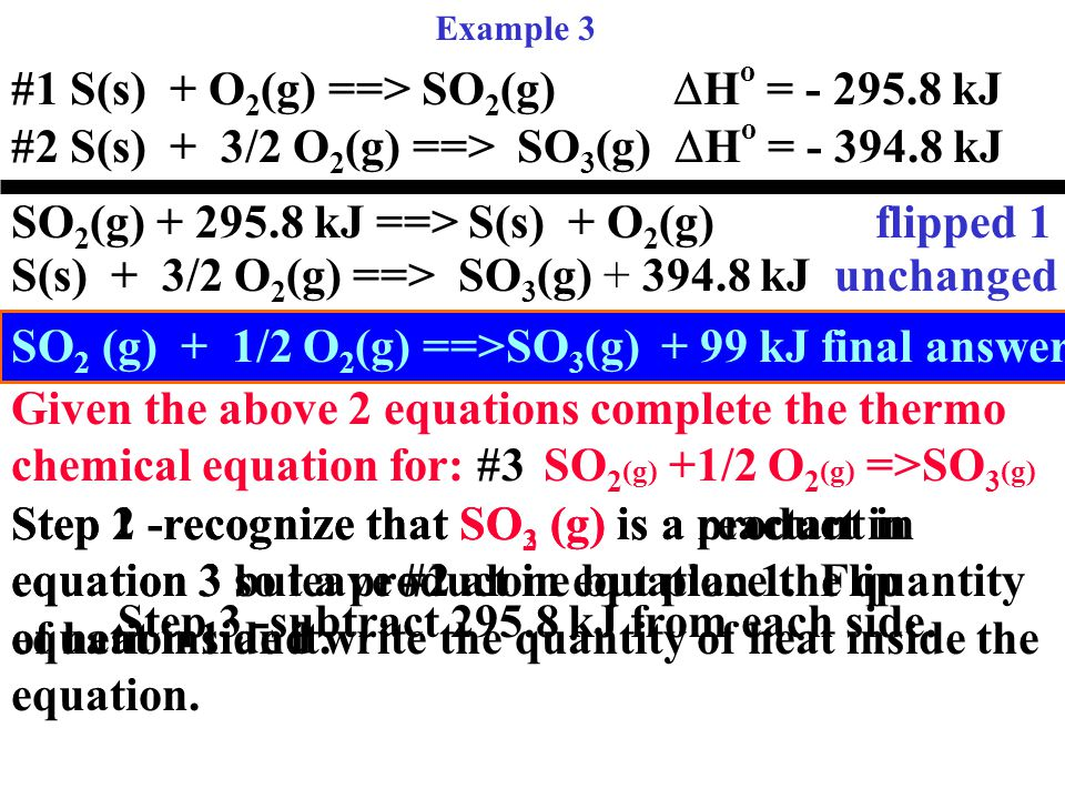Example 3 #1 S(s) + O 2 (g) ==> SO 2 (g)  H o  = - 295.8 kJ #2 S(s) + 3/2 O 2 (g) ==> SO 3 (g)  H o  = - 394.8 kJ Given the above 2 equations complete the thermo chemical equation for: #3SO 2 (g) +1/2 O 2 (g) =>SO 3 (g) Step 1 -recognize that SO 2 (g) is a reactant in equation 3 but a product in equation 1.