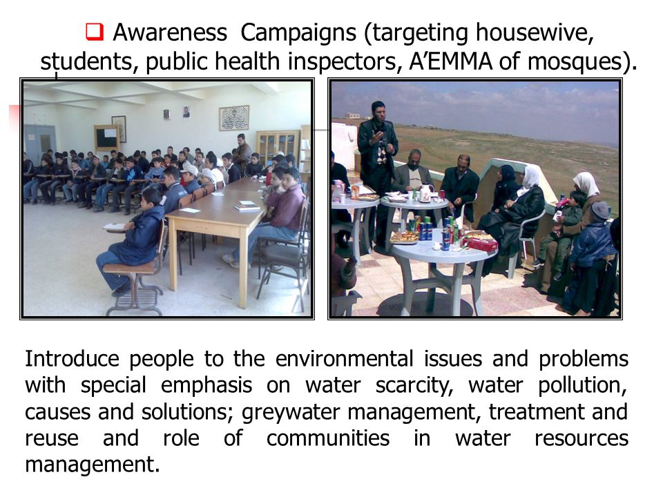  Awareness Campaigns (targeting housewive, students, public health inspectors, A'EMMA of mosques).