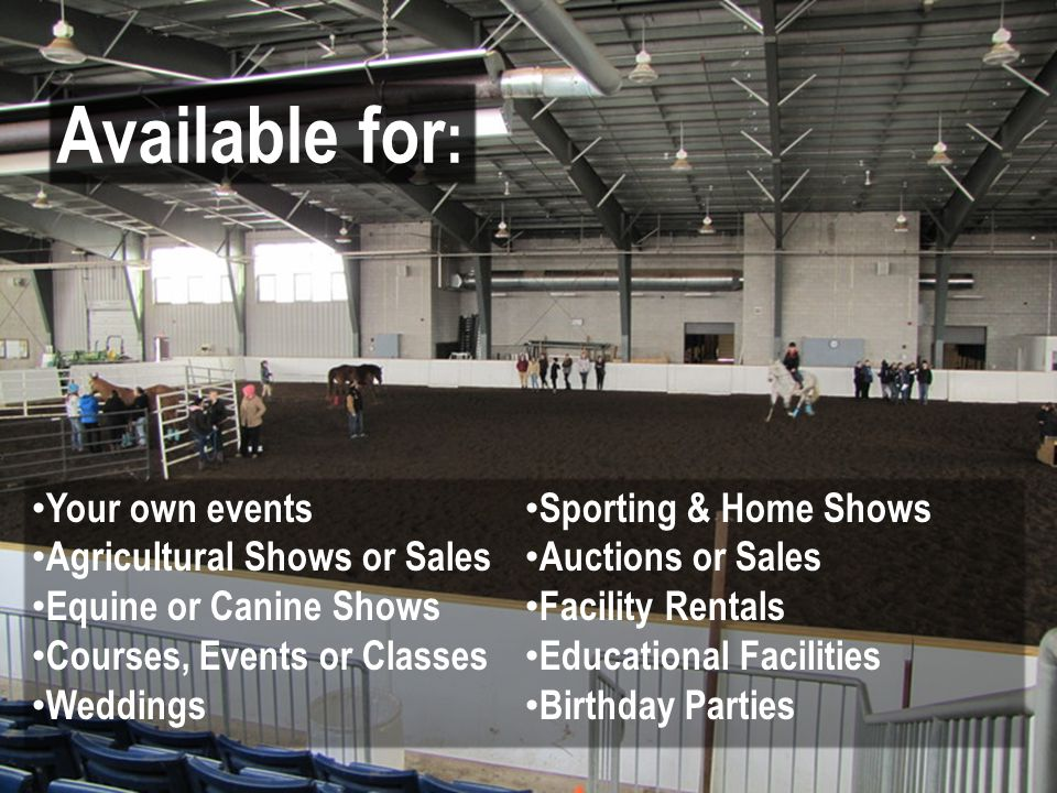 Your own events Agricultural Shows or Sales Equine or Canine Shows Courses, Events or Classes Weddings Sporting & Home Shows Auctions or Sales Facility Rentals Educational Facilities Birthday Parties Available for :