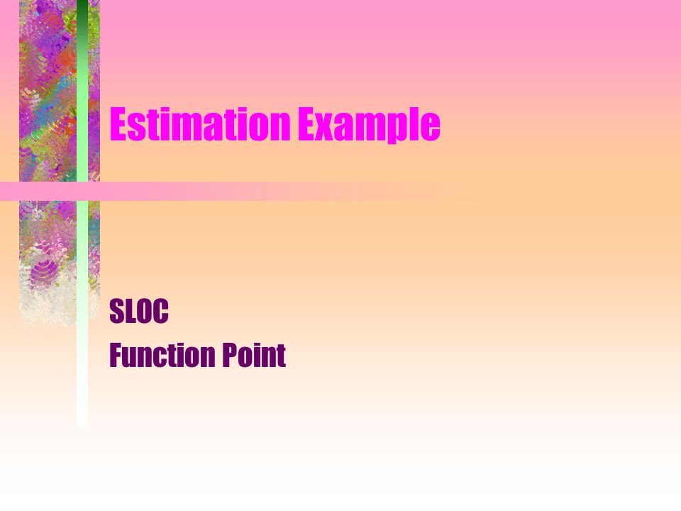 Estimation Example SLOC Function Point