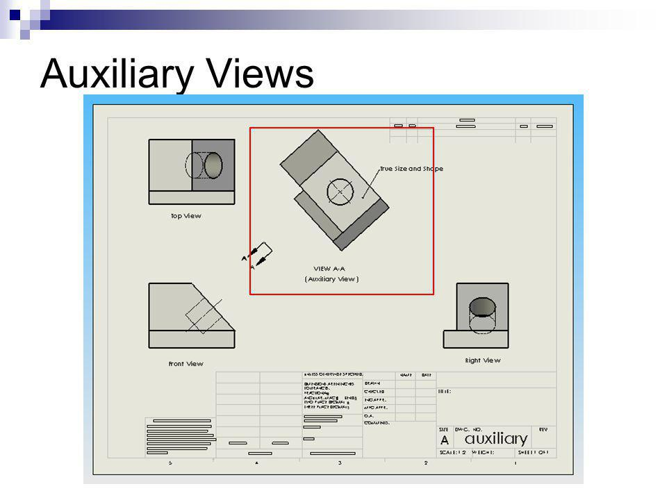 - Dimension on true size and shape views only - Use Auxiliary views if necessary NO YES