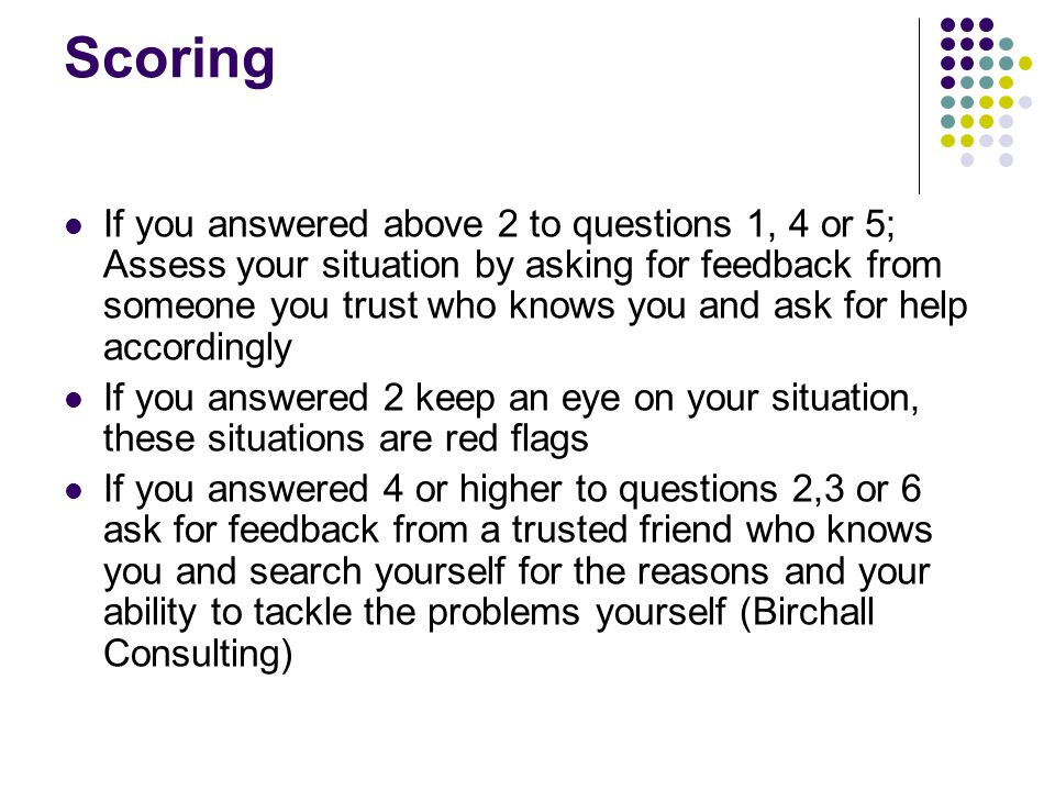 Scoring If you answered above 2 to questions 1, 4 or 5; Assess your situation by asking for feedback from someone you trust who knows you and ask for