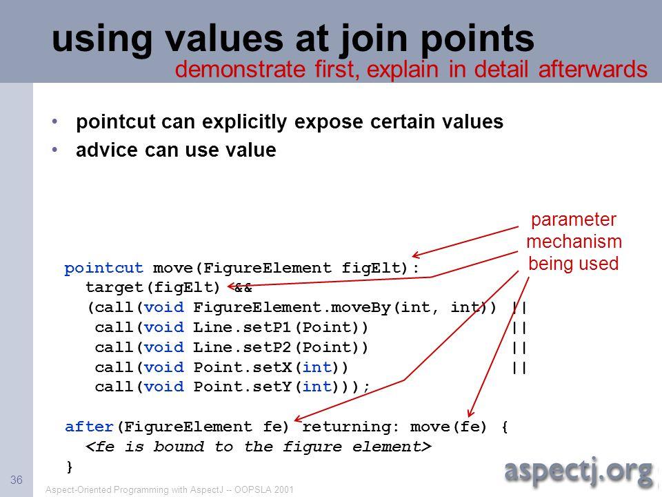 Aspect-Oriented Programming with AspectJ -- OOPSLA 2001 36 pointcut move(FigureElement figElt): target(figElt) && (call(void FigureElement.moveBy(int,