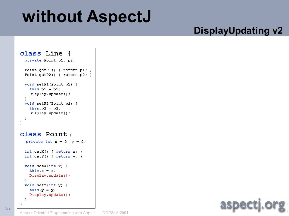Aspect-Oriented Programming with AspectJ -- OOPSLA 2001 45 class Line { private Point p1, p2; Point getP1() { return p1; } Point getP2() { return p2;