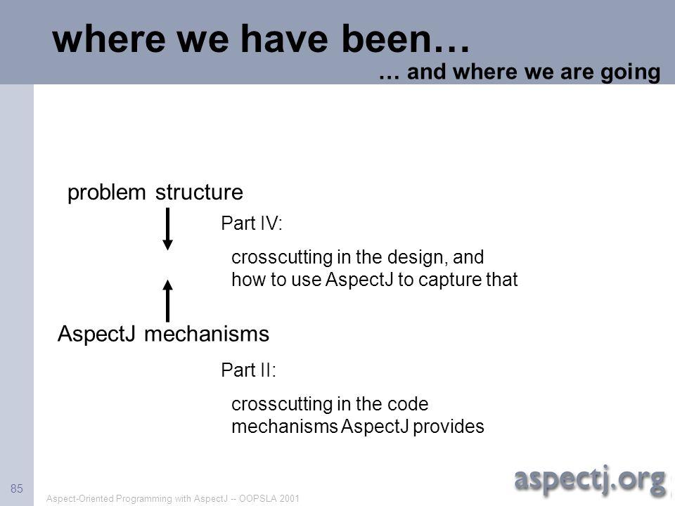 Aspect-Oriented Programming with AspectJ -- OOPSLA 2001 85 where we have been… AspectJ mechanisms Part II: crosscutting in the code mechanisms AspectJ