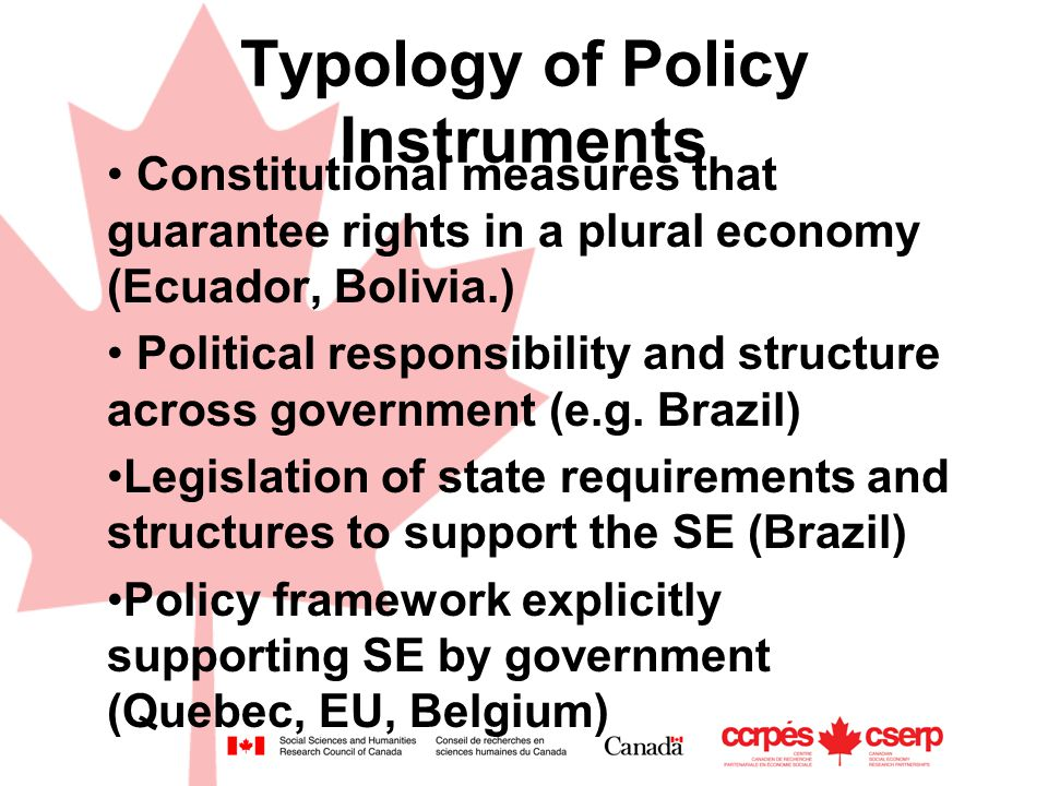 Typology of Policy Instruments Constitutional measures that guarantee rights in a plural economy (Ecuador, Bolivia.) Political responsibility and structure across government (e.g.