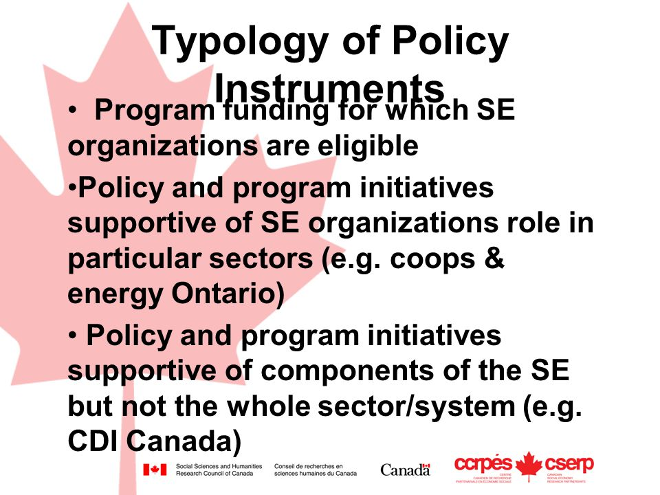 Typology of Policy Instruments Program funding for which SE organizations are eligible Policy and program initiatives supportive of SE organizations role in particular sectors (e.g.
