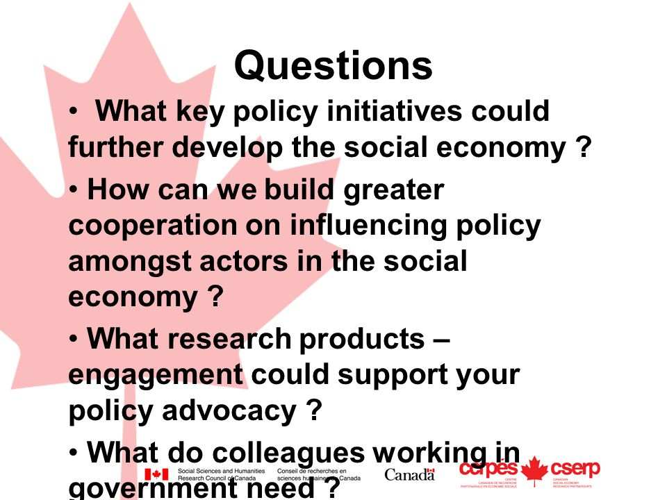 Questions What key policy initiatives could further develop the social economy .