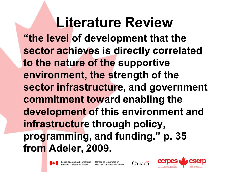 Literature Review the level of development that the sector achieves is directly correlated to the nature of the supportive environment, the strength of the sector infrastructure, and government commitment toward enabling the development of this environment and infrastructure through policy, programming, and funding. p.