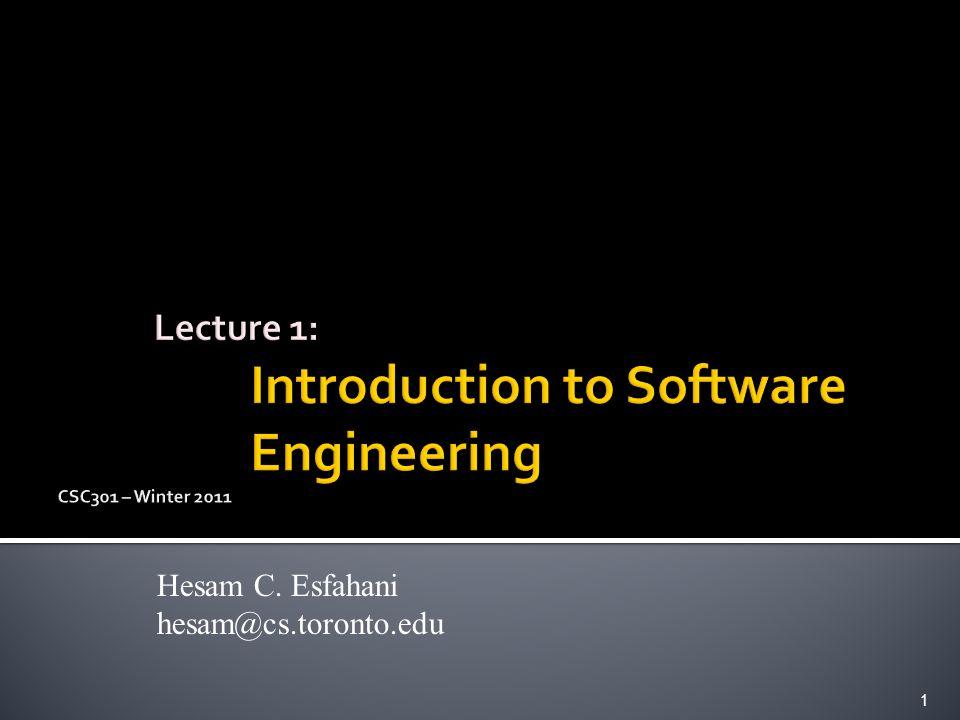 Hesam C. Esfahani hesam@cs.toronto.edu 1