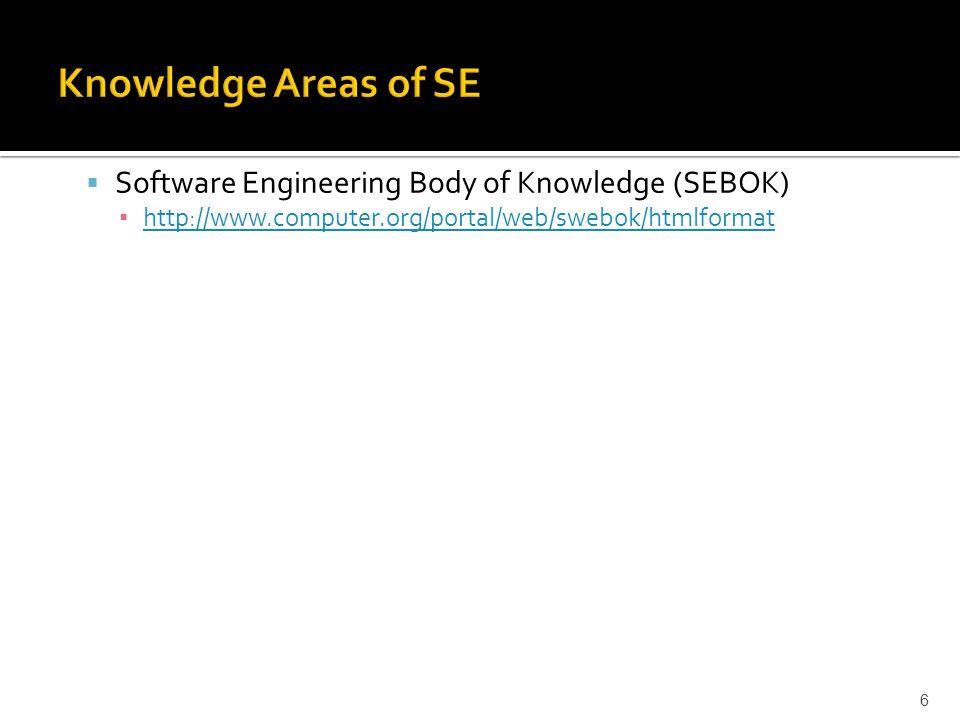  Software Engineering Body of Knowledge (SEBOK) ▪ http://www.computer.org/portal/web/swebok/htmlformat http://www.computer.org/portal/web/swebok/htmlformat 6