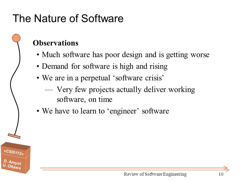 «CSI5112» D. Amyot U. Ottawa Review of Software Engineering10 The Nature of Software Observations Much software has poor design and is getting worse D