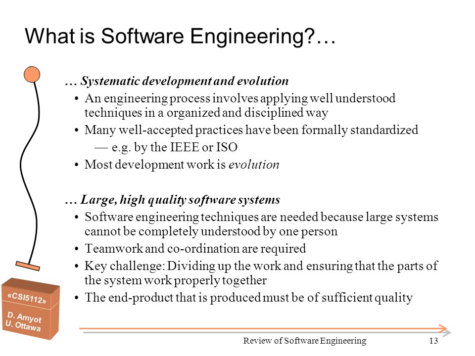 «CSI5112» D. Amyot U. Ottawa Review of Software Engineering13 What is Software Engineering?… … Systematic development and evolution An engineering pro