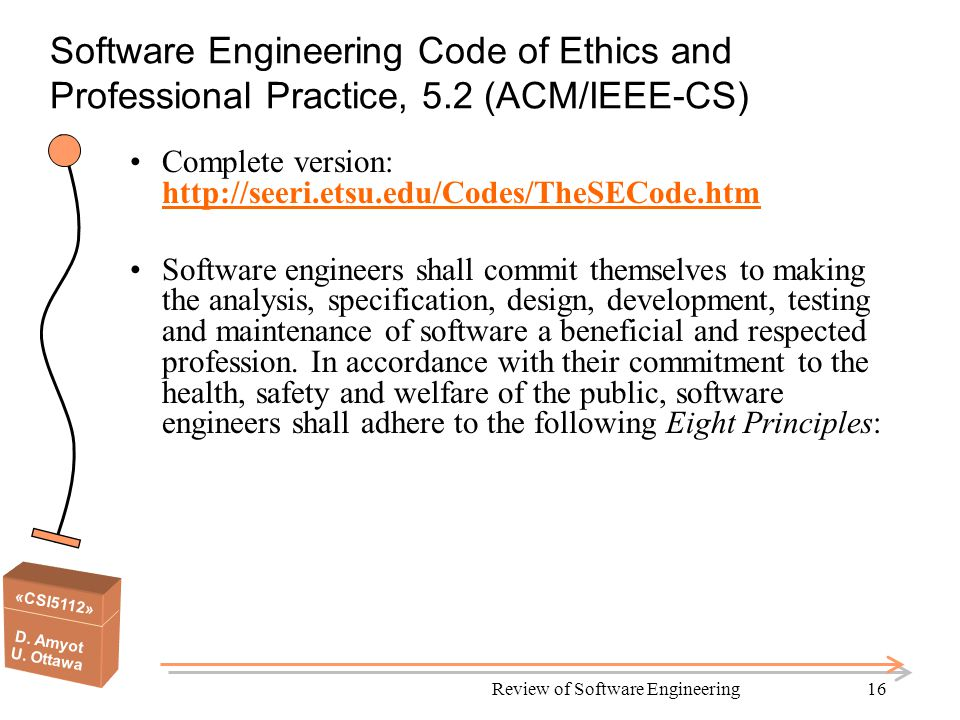 «CSI5112» D. Amyot U. Ottawa Review of Software Engineering16 Software Engineering Code of Ethics and Professional Practice, 5.2 (ACM/IEEE-CS) Complet